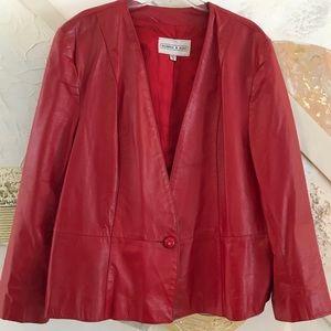 Jackets & Blazers - Plus size Red Leather Jacket